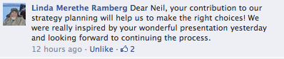 Linda's FB comment